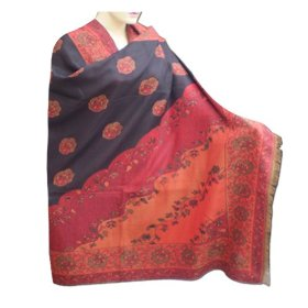 Beautiful hot selling party wear double sided cotton shawl with leaf design  shwl0064r