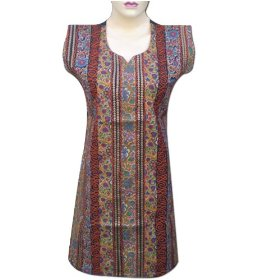 Best selling handmade printed cotton top with embroidered & sequins lltop0111r
