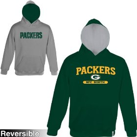 Reebok green bay packers boys (4-7) home & away reversible hooded sweatshirt
