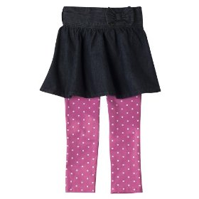Infant toddler girls' genuine kids from oshkosh dark indigo denim skirt and legging set