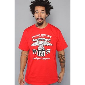 Crooks and castles the trouble vultures tee in red,t-shirts for men
