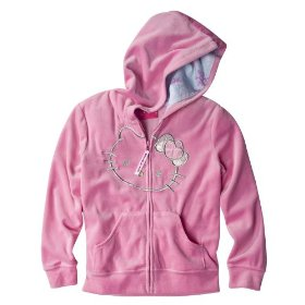 Girls' hello kitty pink velour long-sleeve embroidered hoodie sweatshirt