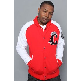 Crooks and castles the demon c varsity jacket in red,jackets for men