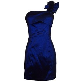 One shoulder ruffle strap knee-length taffeta sheath dress