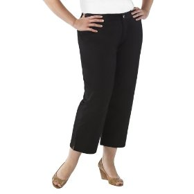 Women's plus-size cherokee® black straight-leg elastic-waist crop pants