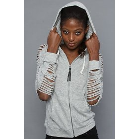 Obey the alibi zip hoody in heather gray hood ,sweatshirts for women