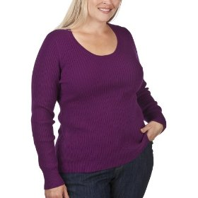 Women's plus-size merona® plum long-sleeve scoop-neck sweater