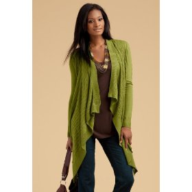 Metrostyle draped cabled cardigan sweater