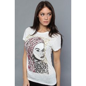 Obey the peace woman stamp burnout pocket tee in natural,t-shirts for women