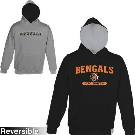 Reebok cincinnati bengals boys (4-7) home & away reversible hooded sweatshirt