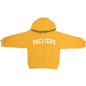 Reebok green bay packers boys (4-7) full zip hooded sweatshirt