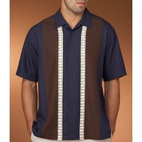 Cubavera color block panel shirt