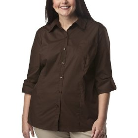 Women's plus-size cherokee® brown long-sleeve camp shirt