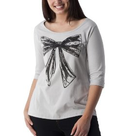 Juniors' plus-size pure energy soft gray scoop-neck 3/4-sleeve fashion top