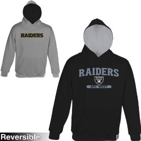 Reebok oakland raiders boys (4-7) home & away reversible hooded sweatshirt