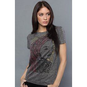 Obey the peace woman stamp burnout pocket tee in graphite,t-shirts for women