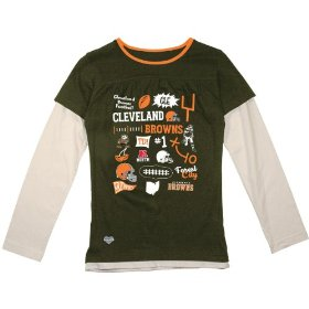 Reebok cleveland browns girls (7-16) long sleeve faux layer t-shirt