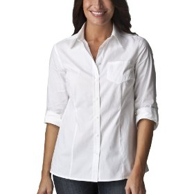 Cherokee® women's relaxed fit camp shirt - white
