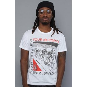 Obey the tour de obey tri-blend tee in white,t-shirts for men