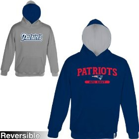 Reebok new england patriots boys (4-7) home & away reversible hooded sweatshirt