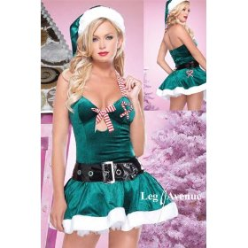 Adult sexy green christmas kandy costume candy-cane holiday party outfit