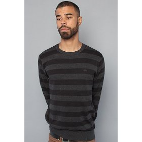 Rvca the alfie crewneck sweater in charcoal heather,sweaters for men