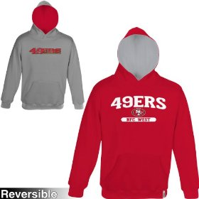 Reebok san francisco 49ers boys (4-7) home & away reversible hooded sweatshirt