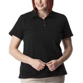 Women's plus-size cherokee® black short-sleeve polo shirt