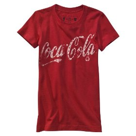 Girls' red coca-cola short-sleeve rhinestone tee