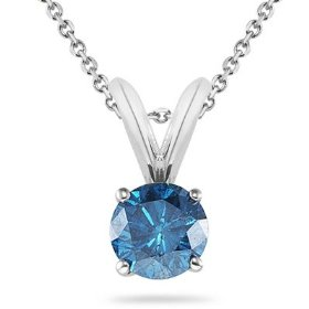 14k white gold round blue diamond solitaire pendant w/18 inch chain (2/5 ctw)