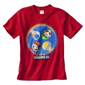 Boys' super mario bros. wii red short-sleeve graphic tee