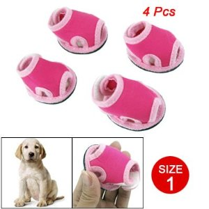 Como Size 1 Nonslip Sole Detachable Closure Doggy Sandals Shoes Pink Magenta 4 Pcs