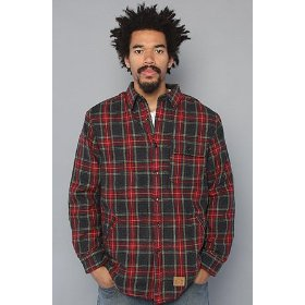 Crooks and castles the cnc flannel sherpa buttondown shirt in red & blue,buttondown shirts for men