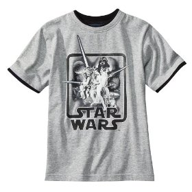Boys' retro star wars grey short-sleeve graphic tee
