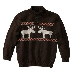 Infant toddler boys' cherokee® brown long-sleeve sweater