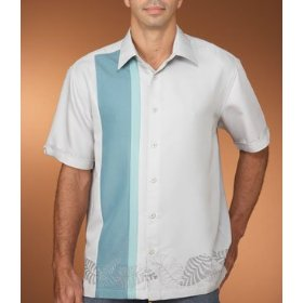 Cubavera panel shirt with leaf embroidery