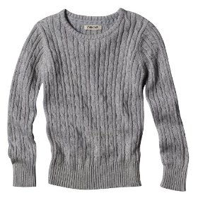 Girls' cherokee® gray long-sleeve cable knit sweater
