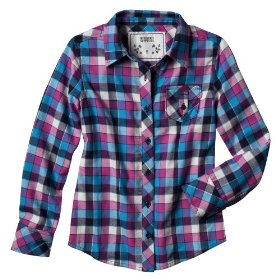 Girls' mossimo supply co. pink plaid long-sleeve flannel shirt