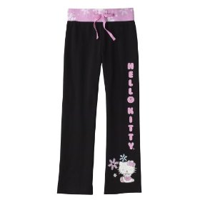 Girls' hello kitty black lounge pants