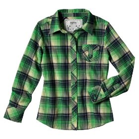 Girls' mossimo supply co. green plaid long-sleeve flannel shirt