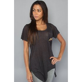 Sauce the pearl tee in dark gray,t-shirts for women