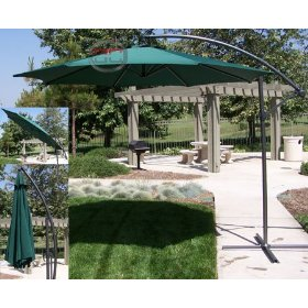 New deluxe green 10' offset patio umbrella off set outdoor