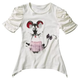 Girls' disney sonny munroe 3/4-sleeve mouse shirt - cream