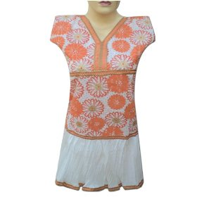 Printed embroidered colorful cotton top with sequins in frok style lltop0071r
