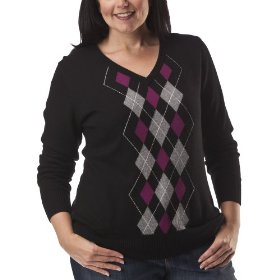 Womens' plus-size merona® ebony/white v-neck argyle sweater