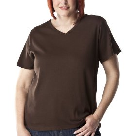Women's plus-size cherokee® spanish brown short-sleeve v-neck basic tee