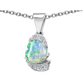 2.12 cttw 14k white gold plated 925 sterling silver heart shaped created opal and white quartz penda