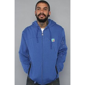 Lrg the present future full zip hoody in gibson blue hood ,sweatshirts for men