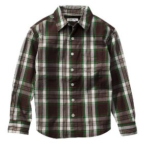 Boys' cherokee® brown/green plaid long-sleeve woven shirt