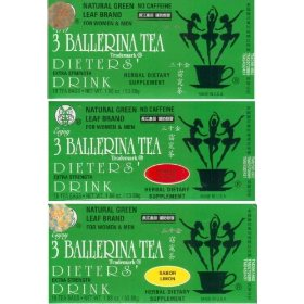 3 ballerina tea extra strength all natural dieters drink sampler value pack (1x lemon, 1x cinnamon,